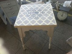 Old Victorian side table frame made back into a side table stenciled by tom of stonesinteriors