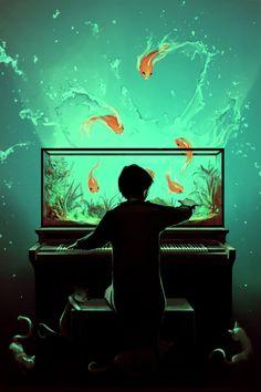 Poster | LE PIANOQUARIUM von Cyril Rolando | more posters at http://moreposter.de