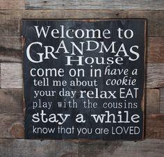 Large Wood Sign  Welcome to Grandmas House  door dustinshelves, $35.00