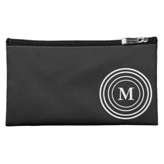 #black - #Modern White Rings on Black Monogram Cosmetic Bag