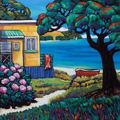 The Bach (Helena Blair). Wall Art print from The Little Art Gallery, Tairua, Coromandel, NZ Fall Arts And Crafts, Arts And Crafts Storage, Arts And Crafts House, Summer Crafts, Craft House, Fun Craft, Bathroom Crafts, New Zealand Art, Jr Art