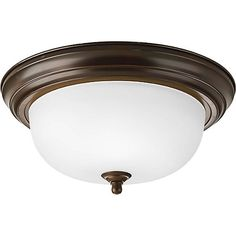 Traditional style ceiling fixture with a domed glass diffuser for pleasing, even illumination. A decorative, metal ceiling pan transitions nicely to glass shade which is held in place with a matching metal finial. Perfect for use in hallways, bedrooms, bathrooms, or any space with a 8-9 ft. ceiling that requires illumination.