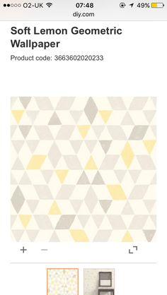 B&Q lemon yellow wallpaper geometric