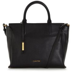 Calvin Klein Medium Leather Tote Bag ($325) ❤ liked on Polyvore featuring bags, handbags, tote bags, handbag tote, real leather tote, calvin klein tote, leather tote handbags and leather handbags