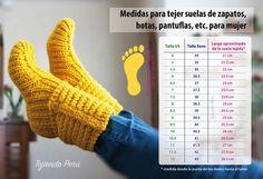 Cuadro de medidas aproximadas para tejer botas, zapatos, pantuflas, etc. en cualquier técnica Crochet Quilt, Knit Or Crochet, Crochet Stitches, Crochet Patterns, Knitting Videos, Loom Knitting, Baby Knitting, Crochet Boots, Crochet Slippers
