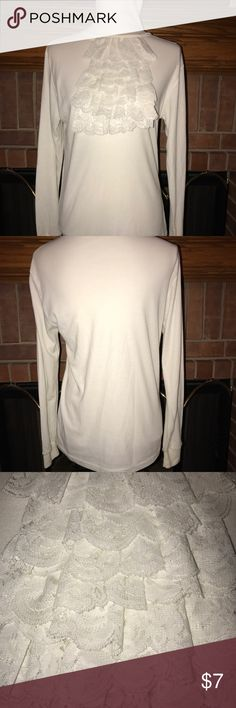 Copper Creek Turtleneck Cream colored turtleneck with lace ruffles on front. Size M NO TRADES! #41 Sweaters Cowl & Turtlenecks