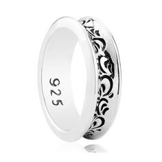 Gothic Style Carved Texture 925 Sterling Silver Ring For Men