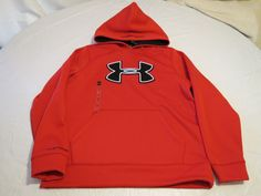 Boy's Under Armour Storm Cold Gear S YSM youth jacket pull over coat hoodie red #UnderArmour