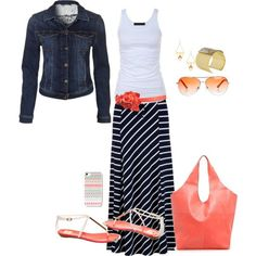 Coral and Navy by idbutterflykisses on Polyvore
