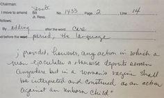 Republicans and Women's Reproductive Rights   Constance Johnson's handwritten amendment to Oklahoma senate bill ...