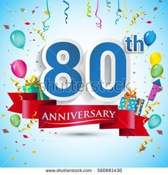 80th Years Anniversary Celebration Design, with gift box and balloons, Red ribbon, Colorful Vector template elements for your eighty birthday celebrating party.