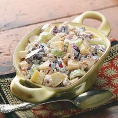 Waldorf Salad. This is great with added leftover rotisserie or even canned chicken.