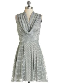 Sublime and Sweet Dress. Your unique beauty is underscored by this grey polka-dotted dress as you sway into the party! #gold #prom #modcloth