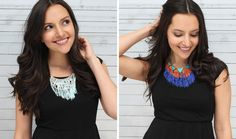 this technique would work using all sorts of scraps and embellishments. time to dig out the old jewelry box...(5 Fringe Statement Necklaces You Can Make in Under 5 Minutes via Brit + Co.)