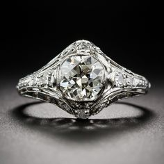 1.29 Carat Art Deco Diamond and Platinum Engagement Ring - Vintage Engagement Rings