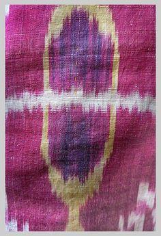 Ikat Panel (DETAIL)  Cotton warp silk weft Uzbekistan   circa 1880s Lined in Russian Cotton Chintz