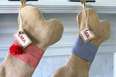 Personalized Dog Christmas Stocking, Unique burlap holiday stocking, holiday pet gifts for dogs on Etsy, $35.00