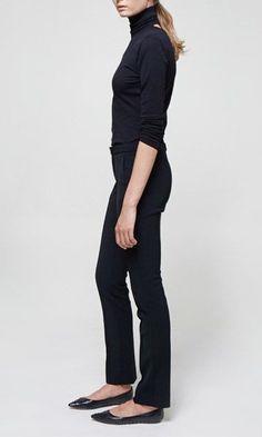 black turtleneck, jeans, flats