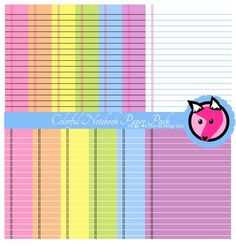 INSTANT DOWNLOAD - colorful printable notebook digital paper - printable notebook paper - doodle background - commercial use - teacher