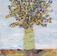 20 x 20 Acrylic on canvas Abstract Flowers, Artist Painting, Earthy, Blues, Fancy, Canvas, Artwork, Tela, Work Of Art