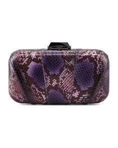 Kotur Breen Snakeskin Minaudiere, Purple