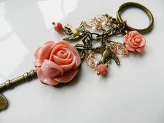 Key chain, accessories, purse charm, bag charm, gift for her, peach flowers, romantic purse charm, key charm