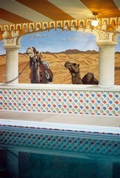Moroccan Themed Mural by Tom Taylor of Wow Effects, painted around an indoor pool.