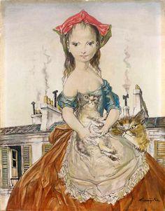 Girl with Cats -- Léonard Tsuguharu Foujita (1886 – 1968, Japanese)