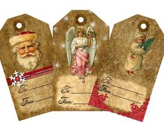 Christmas Gift  Tags Digital Collage Sheet (Sheet no. O104) Instant Download
