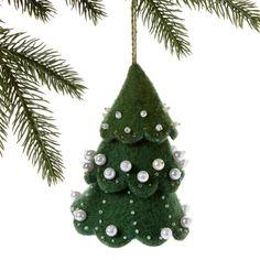 Green Felt Tree Ornament with White Beads - Silk Road Bazaar (O)