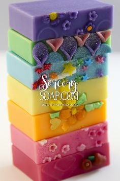 Fat Stacks of Brightly colored Summer Time Soap | #soap #soapmaking | http://sorcerysoap.com