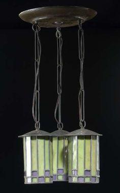 Roycroft, Dard Hunter, x 10 dia. Vintage Chandelier, Vintage Lamps, Home Lighting, Pendant Lighting, Green And Purple, Bright Green, Roycroft, Art And Craft Design, Light Crafts