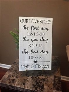 Our Love Story Wood Sign The First Day The by TheCraftShackbyDanyJ