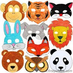 A variety of printable masks. Print in black and white on thick paper and have the kids decorate for a fun mask craft. (Did it! easy and fun, will do again)