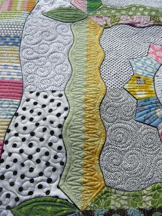 """Before I talk about the quilting, here are the quilt facts:   Quilt made by Beth (she does beautiful applique work!)  Quilt pattern: """"Flea M..."""