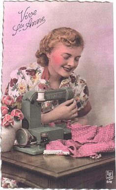 Lovely hand tinted vintage postcard showing a woman sewing on a sewing machine. #vintage #sewing #postcards