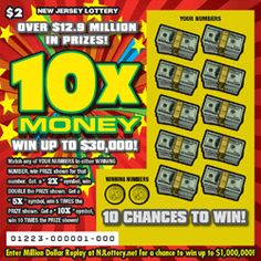 10X Money - Top Prize: $30,000 - Here's How to Play: This ticket will feature one (1) game play. The player gently removes the latex covering the play area to reveal two (2) WINNING NUMBERS and ten (10) YOUR NUMBERS, with a prize amount below each of the YOUR NUMBERS play symbols. If either of the WINNING NUMBERS match any of the YOUR NUMBERS, the player wins the prize amount shown below the matched number(s). Click the image for more information.