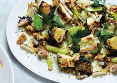 Grilled Zucchini and Leeks with Walnuts and Herbs Recipe - Bon Appétit