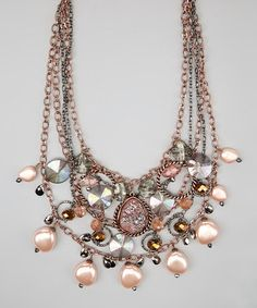 Take a look at this Pink Champagne Bead Teardrop Necklace by Treska on #zulily today!