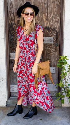 Floral maxi dress, black ankle boots from Stitch Fix. #ad // I never would've tried this dress on my own, but now it's one of my favorite things in my closet! Stitch Fix is a great service for helping you think outside the box.