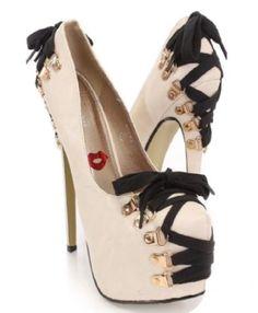 Nude Platform Stiletto Heel Corset Goth Pump Shoe with Lace Detail   eBay