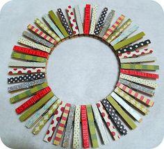 clothes pin wreath