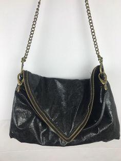 Matt Nat Black Vegan Leather Steampunk Chain Crossbody Bag Beautiful  Stainless   eBay Chain Crossbody Bag c138c47be3