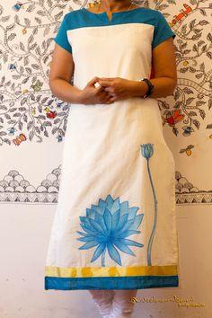 Embroidery On Kurtis, Kurti Embroidery Design, Hand Embroidery Designs, Dress Painting, Fabric Painting, Fabric Art, Painting Apron, Kurti Designs Party Wear, Kurta Designs