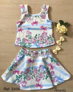 Princesinhas 👑 que amam um glamour!! 🥰 Conjunto Floral, 🌸delicado, 🌼que traduz a harmonia e delicadeza 💞das mimi divas. R$ 122,00, tamanhos 6/8/10/12. 🎅🏽🎄🎁