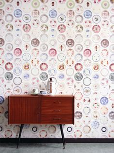 Joyful Porcelain Plates Wallpaper