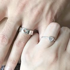Wave Matching Rings For Couples, Promise Rings, His And Hers Wedding Bands Silver, Couples Ring Set, Personalized Custom Engraved Ring Promise Rings For Couples, Couple Rings, Wedding Rings For Women, Wedding Bands, Matching Promise Rings, Leaf Engagement Ring, Engagement Rings Round, White Gold Rings, White Gold Diamonds