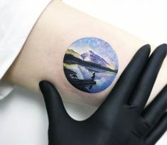 Mountain and Lake tattoo by Eva Krbdk