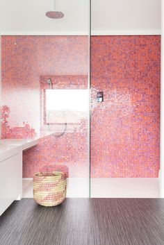 24 Of The Most Stylish Pink Bathroom Ideas For A Stunning Pink Bathroom | Livingetc % | LivingEtcDocument.documentType% Pink Tub, Pink Baths, Chevron Tile, Herringbone Tile, Fish Scale Tile, Small Basin, Polished Plaster, Pink Fish, Pink Tiles