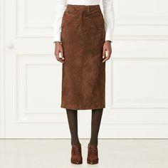 Preston Suede Skirt - Midi  Skirts - RalphLauren.com
